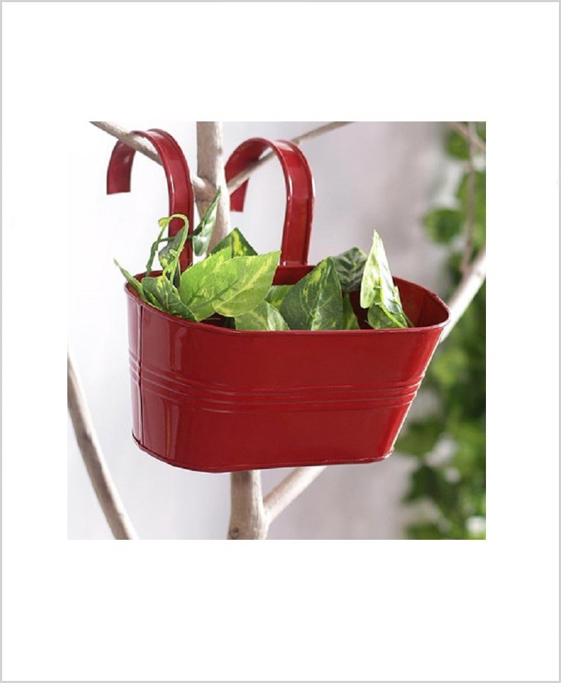 Metal Oval Railing Planter Small Red