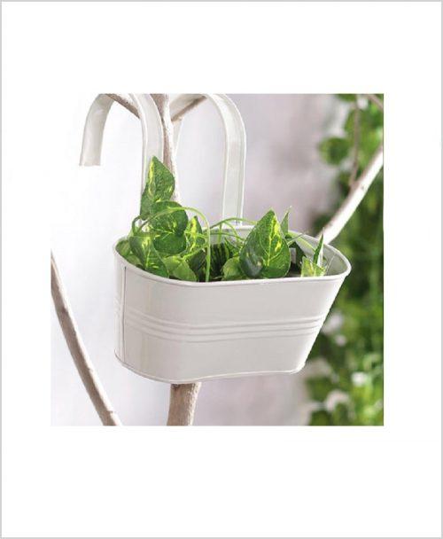 Buy Metal Oval Railing Planter Small White