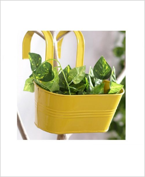 Buy Metal Oval Railing Planter Small Yellow