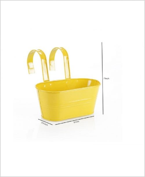Buy Metal Oval Railing Planter Small Yellow Dia