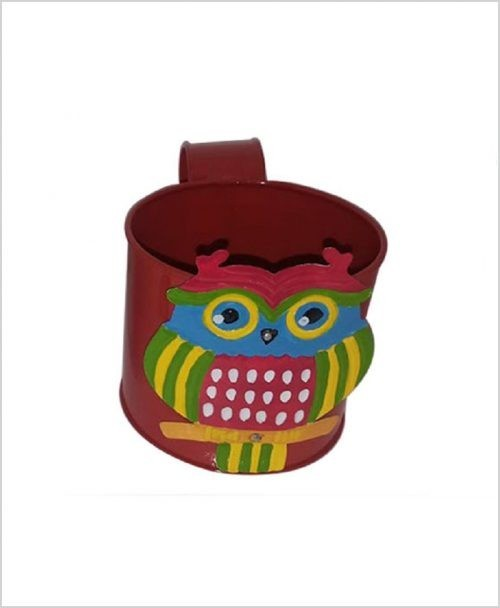 Buy Metal Owl Planter Red