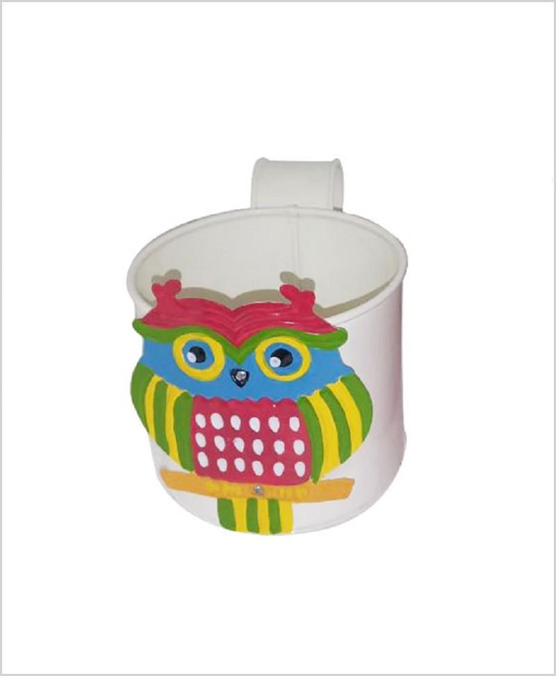 Buy Metal Owl Planter White