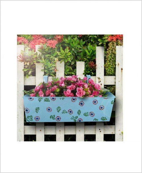 Buy Metal Rectangular Handpainted Planter Blue