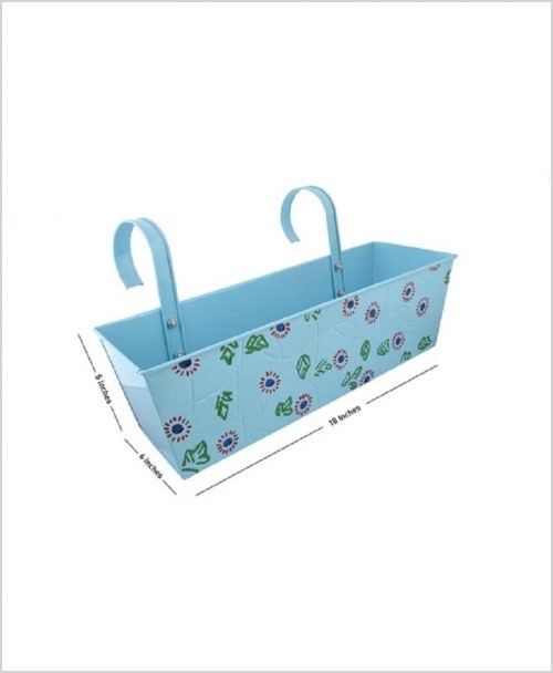 Buy Metal Rectangular Handpainted Planter Blue Dia
