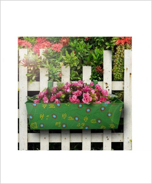 Buy Metal Rectangular Handpainted Planter Green