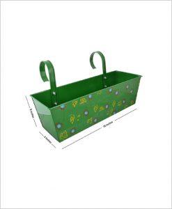 Buy Metal Rectangular Handpainted Planter Green
