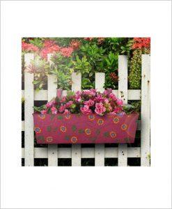 Buy Metal Rectangular Handpainted Planter Pink