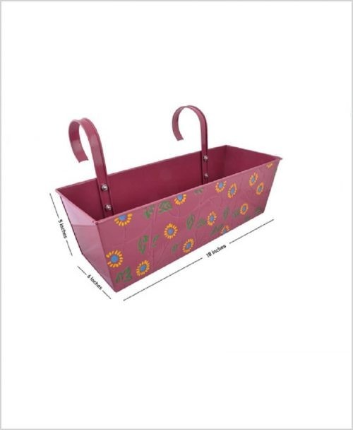 Buy Metal Rectangular Handpainted Planter Pink Dia
