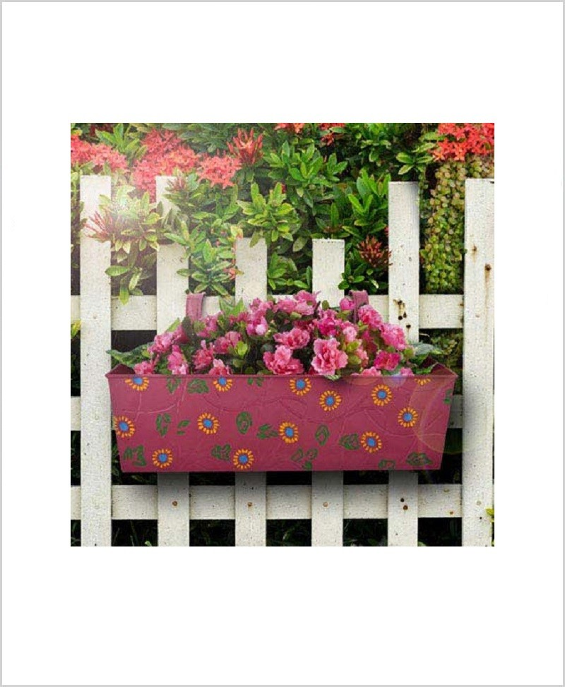 Buy Metal Rectangular Handpainted Planter Pink
