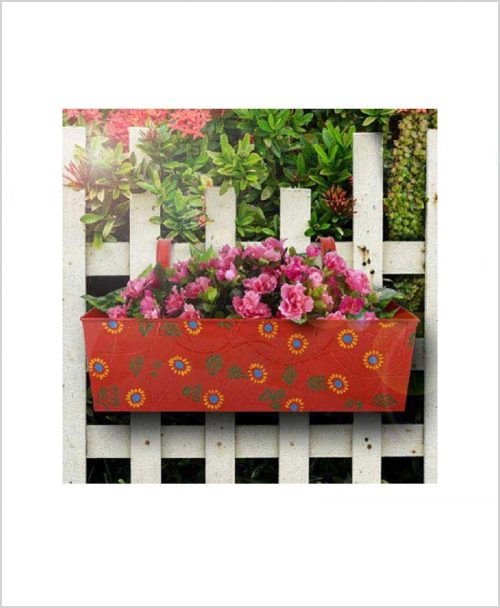Buy Metal Rectangular Handpainted Planter Red