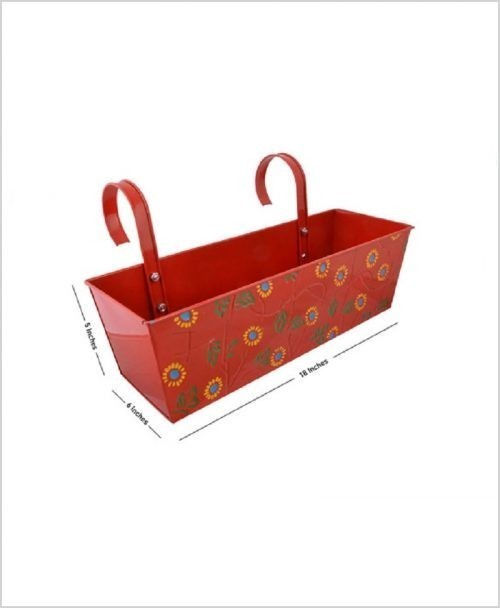 Buy Metal Rectangular Handpainted Planter Red Dia