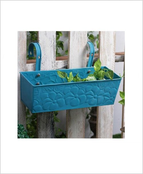 Buy Metal Rectangular Handpainted Planter Solo Blue