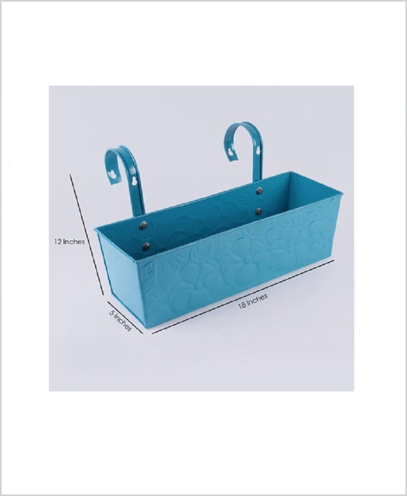 Metal Rectangular Handpainted Planter Solo Blue