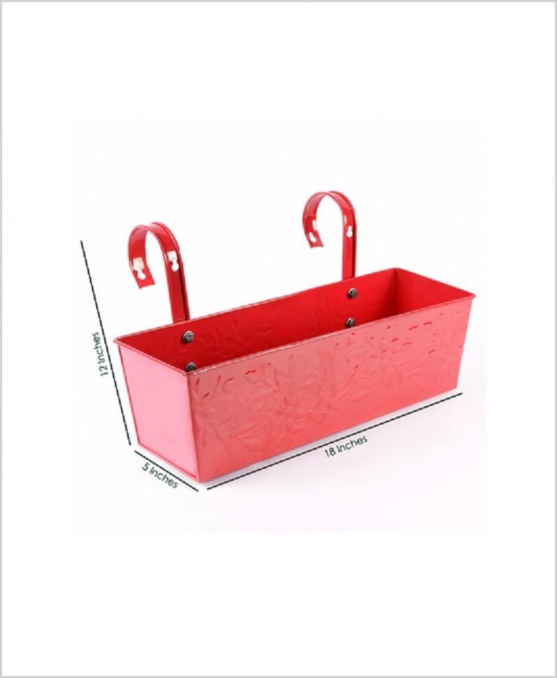 Metal Rectangular Handpainted Planter Solo Red