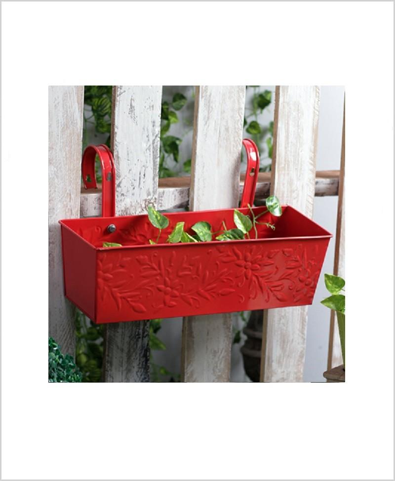 Buy Metal Rectangular Handpainted Planter Solo Red