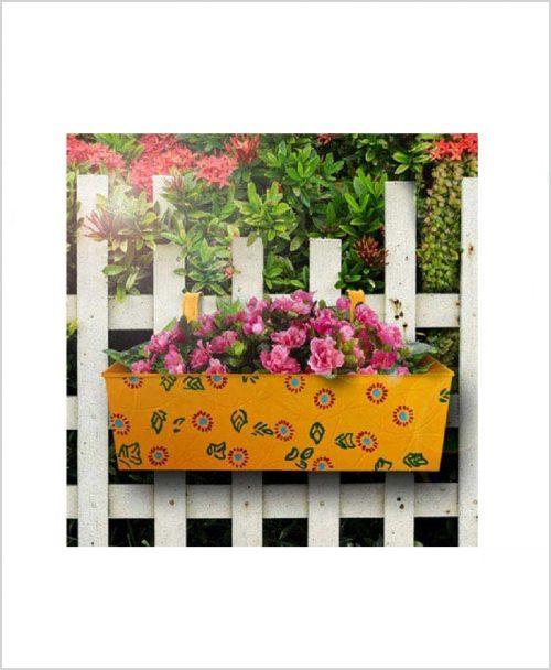 Buy Metal Rectangular Handpainted Planter Yellow
