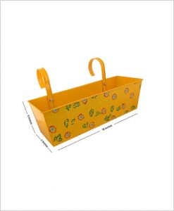 Buy Metal Rectangular Handpainted Planter Yellow Dia