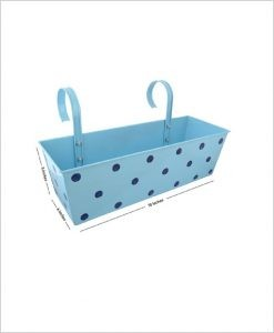 Buy Metal Rectangular Polka Planter Blue Dia