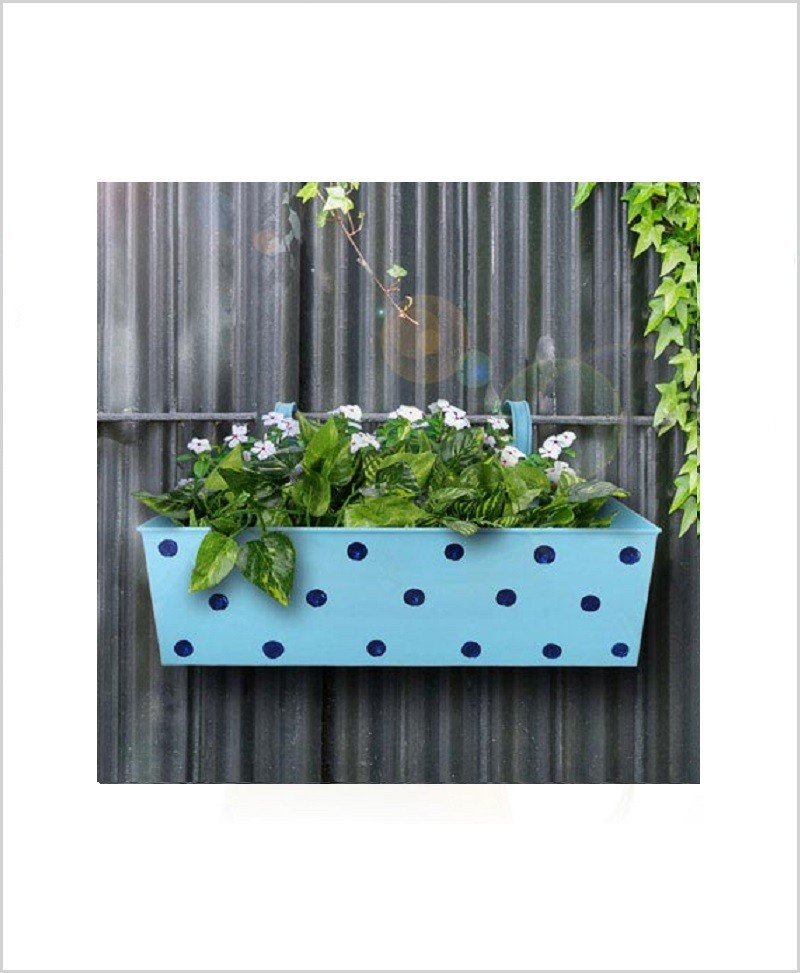 Buy Metal Rectangular Polka Planter Blue