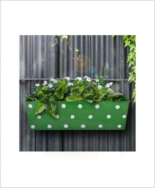 Buy Metal Rectangular Polka Planter Green