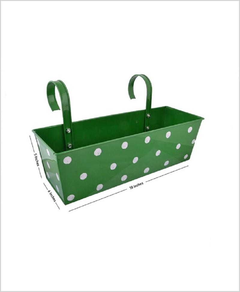 Metal Rectangular Polka Planter Green
