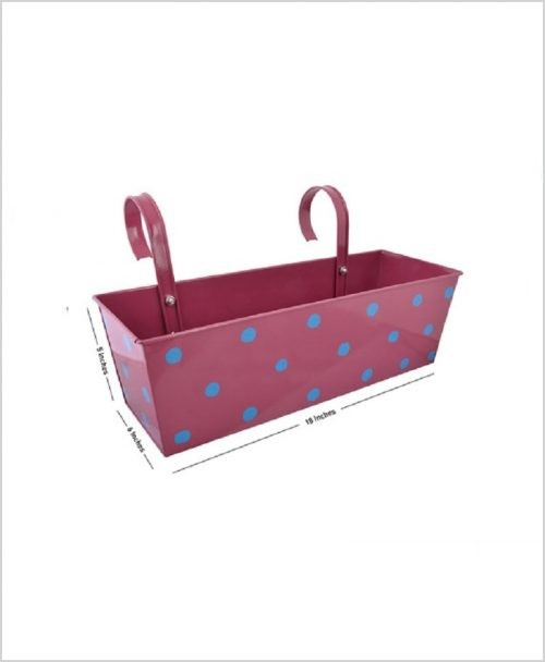 Buy Metal Rectangular Polka Planter Pink Dia