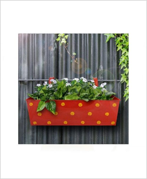 Buy Metal Rectangular Polka Planter Red