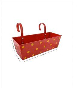 Buy Metal Rectangular Polka Planter Red Dia