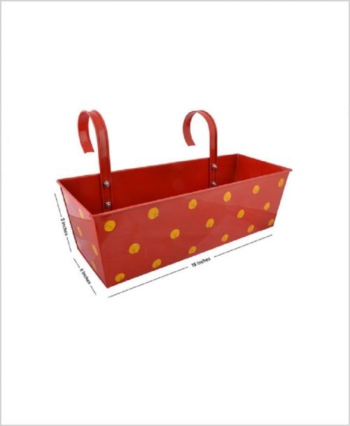 Buy Metal Rectangular Polka Planter Red Dia