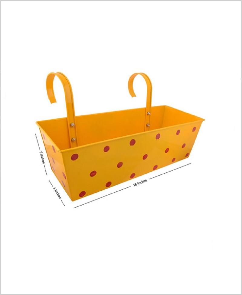 Metal Rectangular Polka Planter Yellow