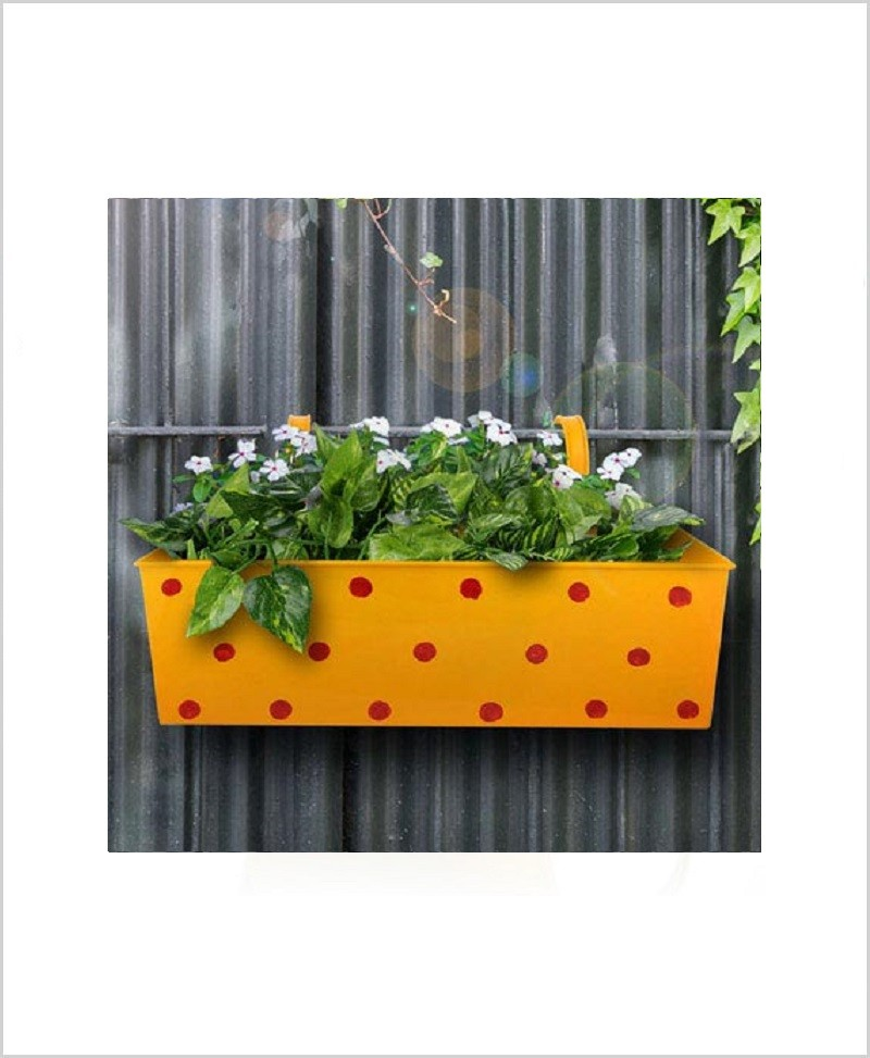Buy Metal Rectangular Polka Planter Yellow