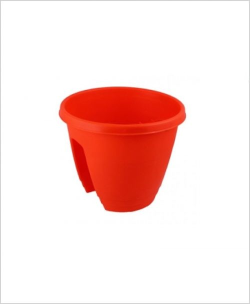 Buy Plastic 12 inch Railing Planter (Red Color)