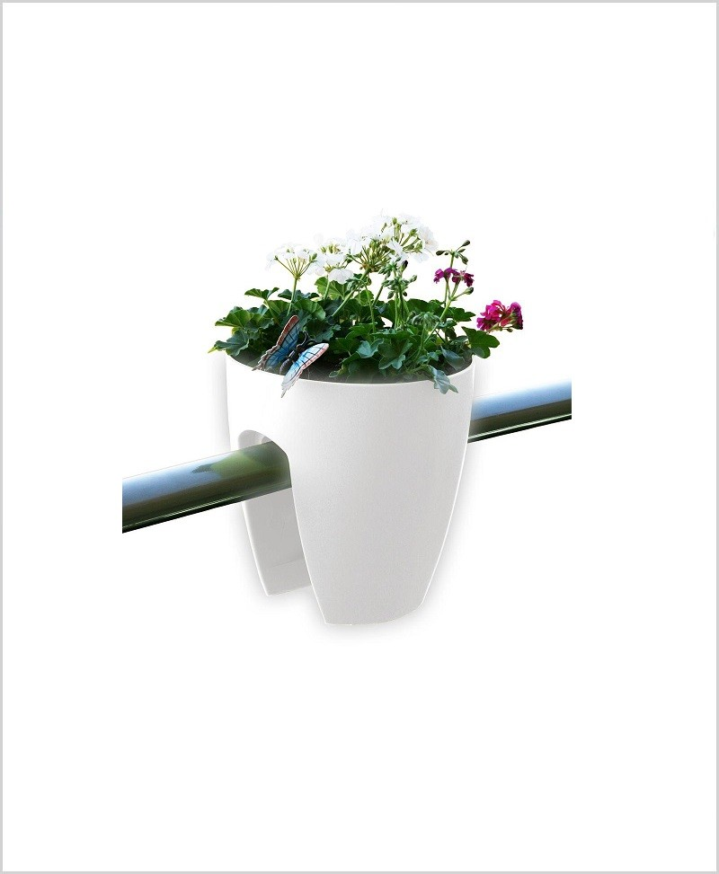 Buy Plastic 12 inch Railing Planter (White Color)