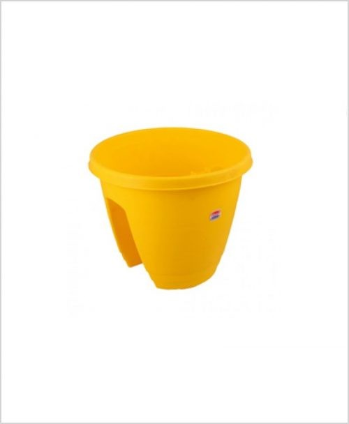 Buy Plastic 12 inch Railing Planter (Yellow Color)