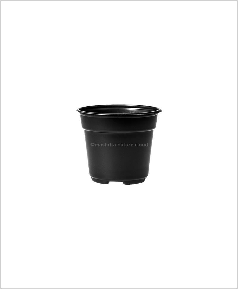 Buy Plastic 4 inch Round Garden Pot (Black Color)