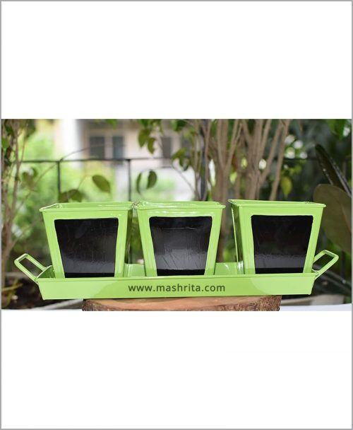 Buy Metal 3 Planters Set with Handle Tray Green