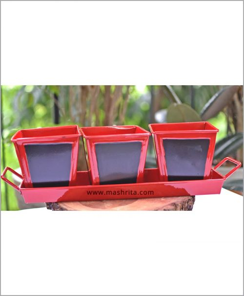 Buy Metal 3 Planters Set with Handle Tray Red