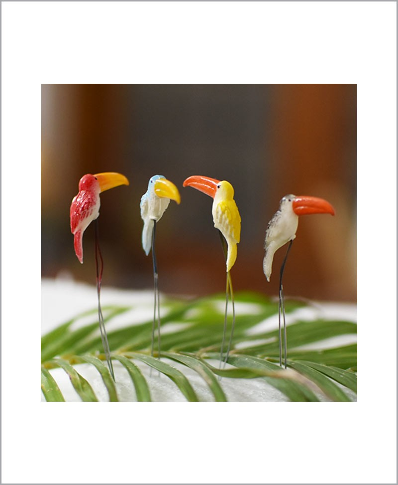 Garden Miniature Toucans (Set of 4 Colored Toucans)