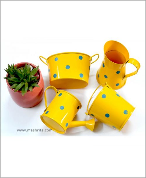 Buy Metal 4 Kids Planters Set Yellow