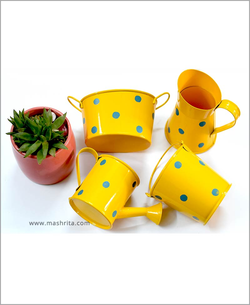 Buy Metal 4 Kids Planters Set Yellow