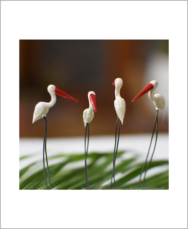 Garden Miniature Egrets (Set of 4 Colored Egrets)
