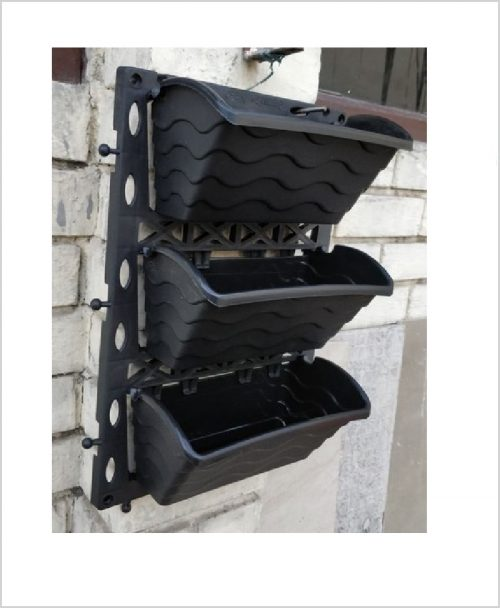 Buy Vertical Garden Big Frame and Pots with Bracket Black Color (Set of 3 pots)