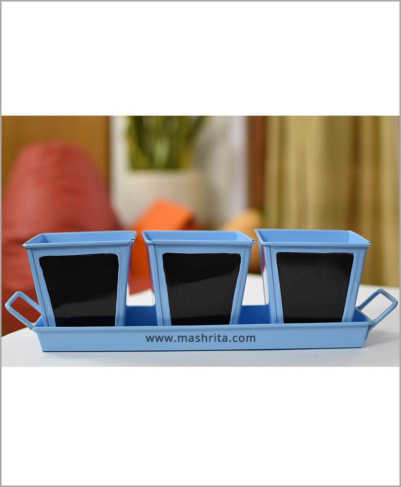Metal 3 Planters Set with Handle Tray Blue