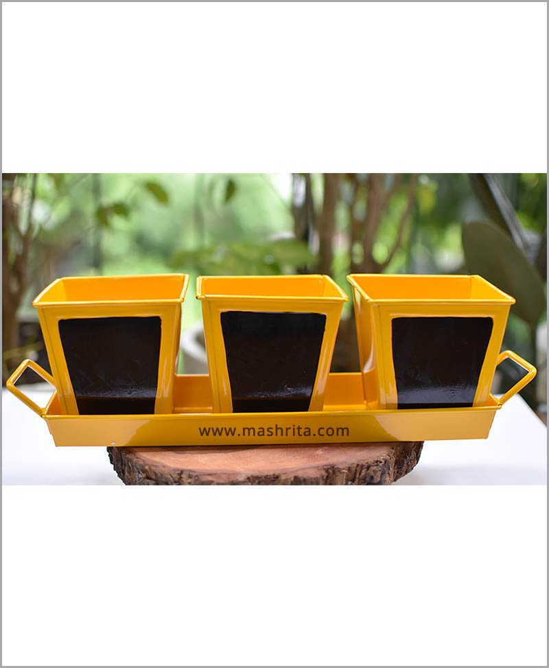 Metal 3 Planters Set with Handle Tray Yellow