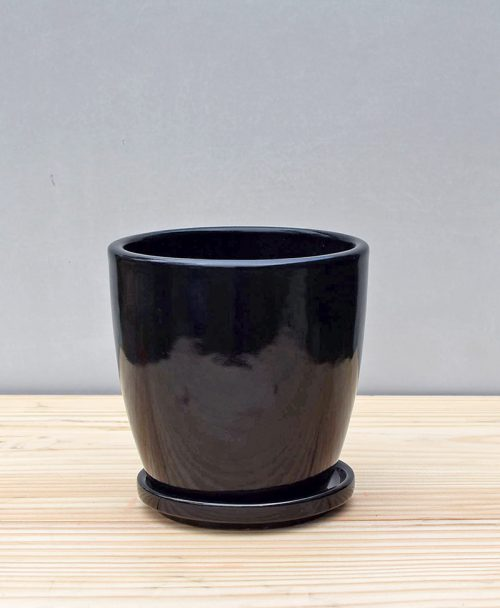 Ceramic 4 inch Oval Pot Black 1