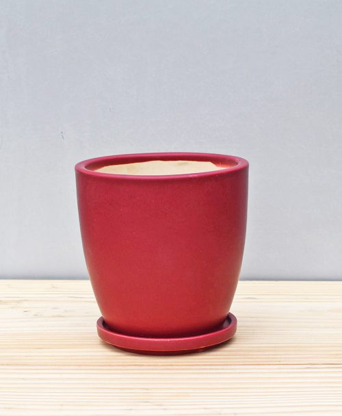 Ceramic 4 inch Oval Pot Maroon 1