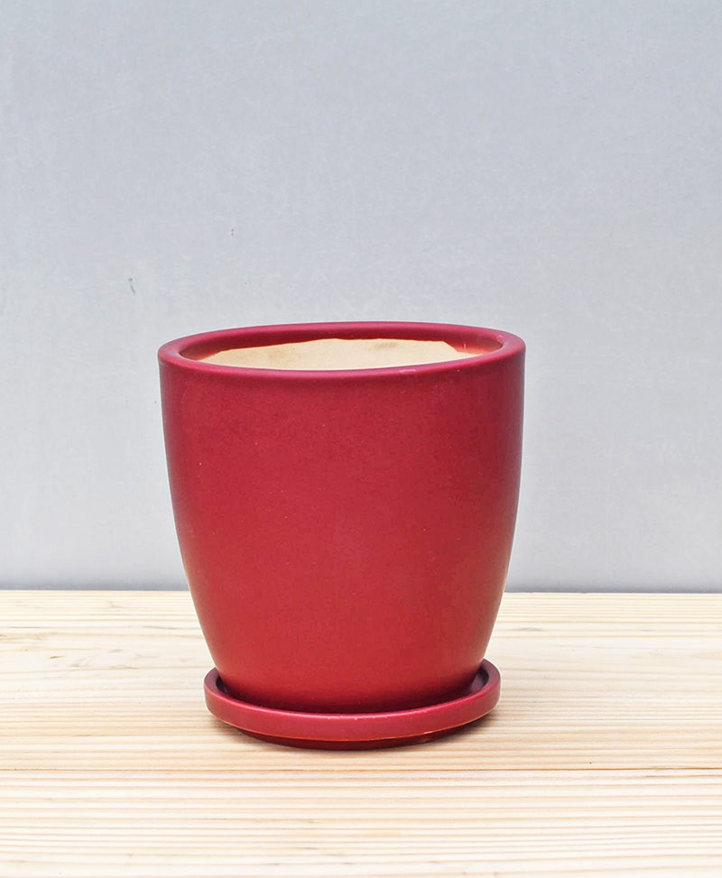 Ceramic 4 inch Oval Pot Maroon
