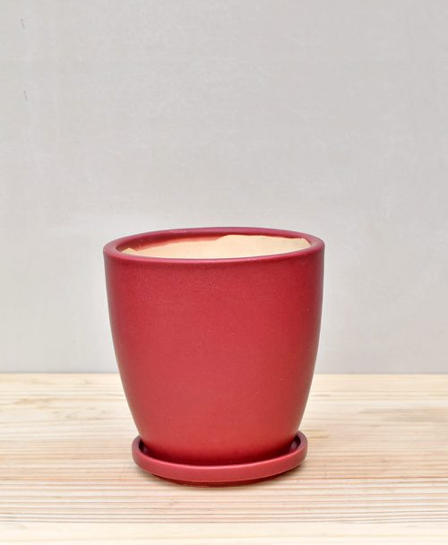 Ceramic 4 inch Oval Pot Maroon 4