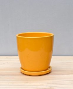 Ceramic 4 inch Oval Pot Mustard Yellow 1