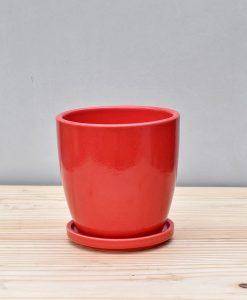 Ceramic 4 inch Oval Pot Red 1
